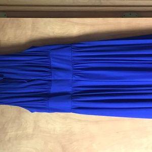 La Nouvelle Renaissance Dresses - Deep Blue Shirred Dress with Beading